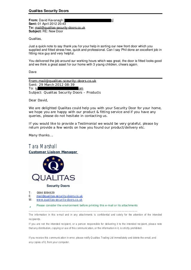 Qualitas Security Doors From: David Kavanagh [kavanagh.david@rocketmail.com] Sent: 01 April 2012 20:43 To: mail@qualitas-s...