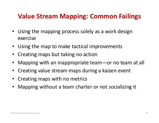 Value Stream Mapping: Common Failings • Using the mapping process solely as a work design  exercise • Using the map to mak...