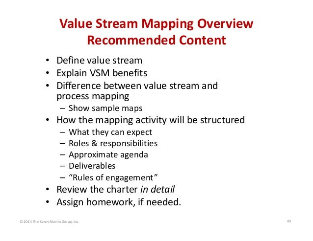 Value Stream Mapping Overview Recommended Content • Define value stream • Explain VSM benefits • Difference between value ...