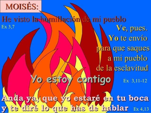 MOISÉS: He visto la humillación de mi pueblo Ex 3,7 Ve, pues. Yo te envío para que saques a mi pueblo de la esclavitud  Yo...