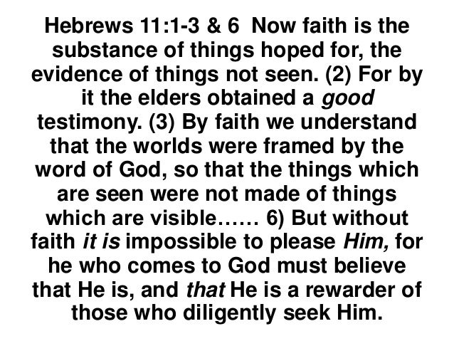 HEBREWS 11 A.Hebrews 11 is called the faith chapter. B.It describes the faith of many who have gone before us who were fai...