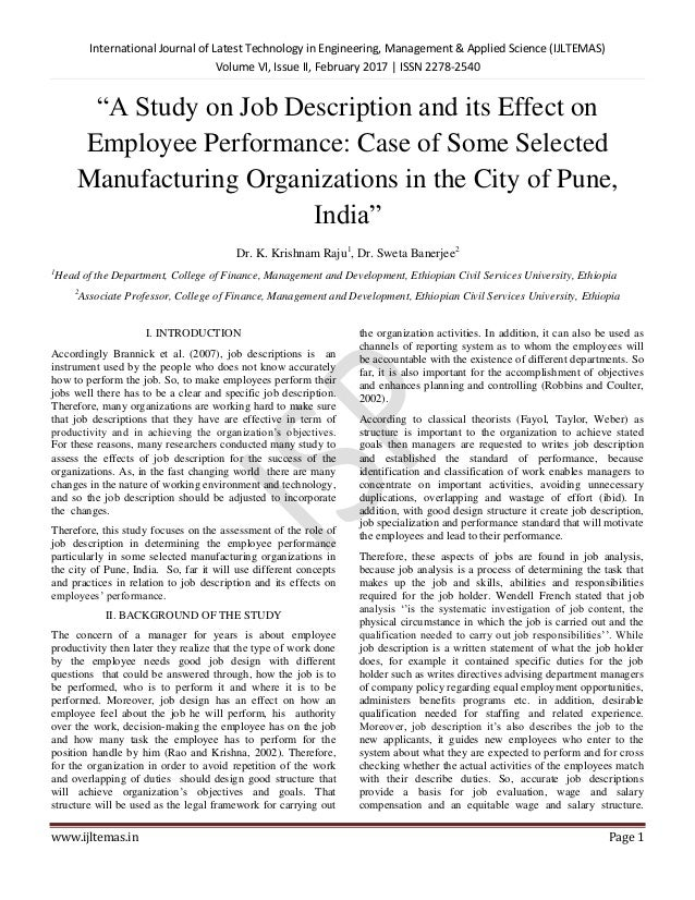 A Study On Job Description And Its Effect On Employee Performance Ca