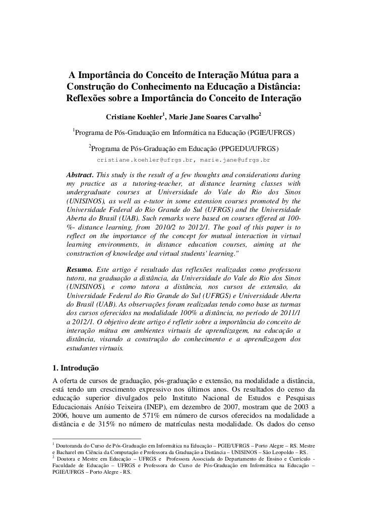 A Importância do Conceito de Interação Mútua para a     Construção do Conhecimento na Educação a Distância:     Reflexões ...