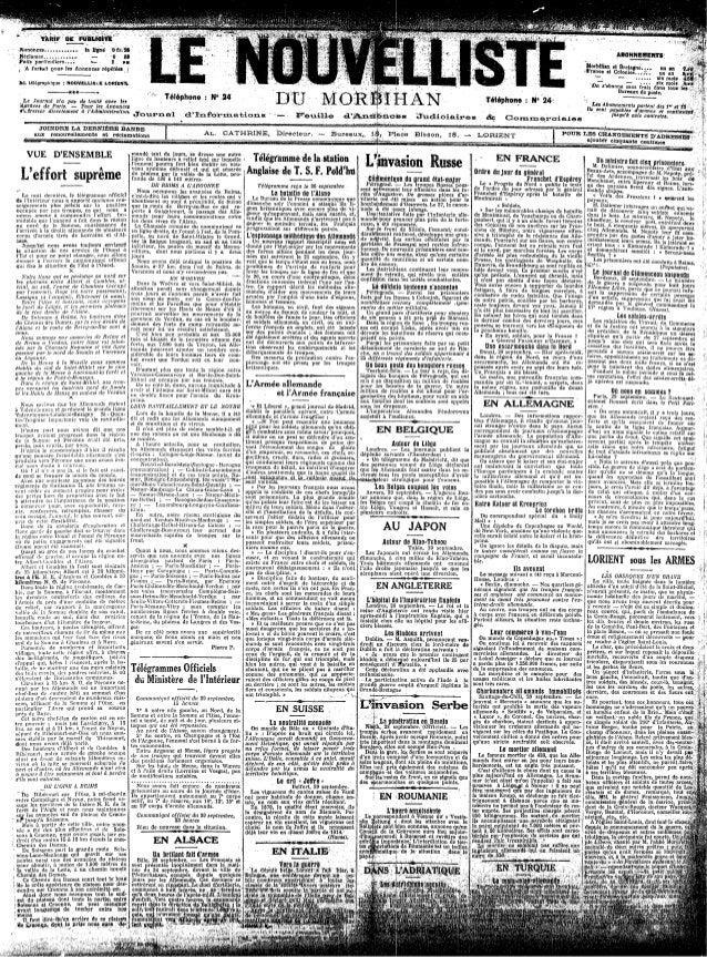 Le Nouvelliste du Morbihan  - du 01  au 10-octobre 1914