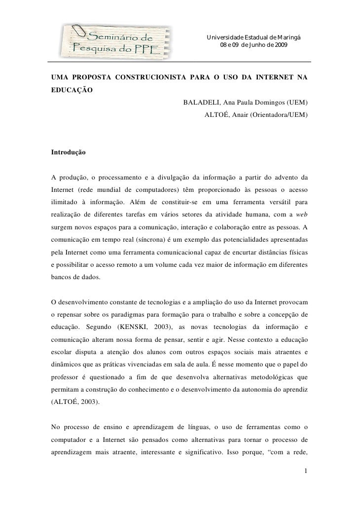 Universidade Estadual de Maringá                                                        08 e 09 de Junho de 2009     UMA P...