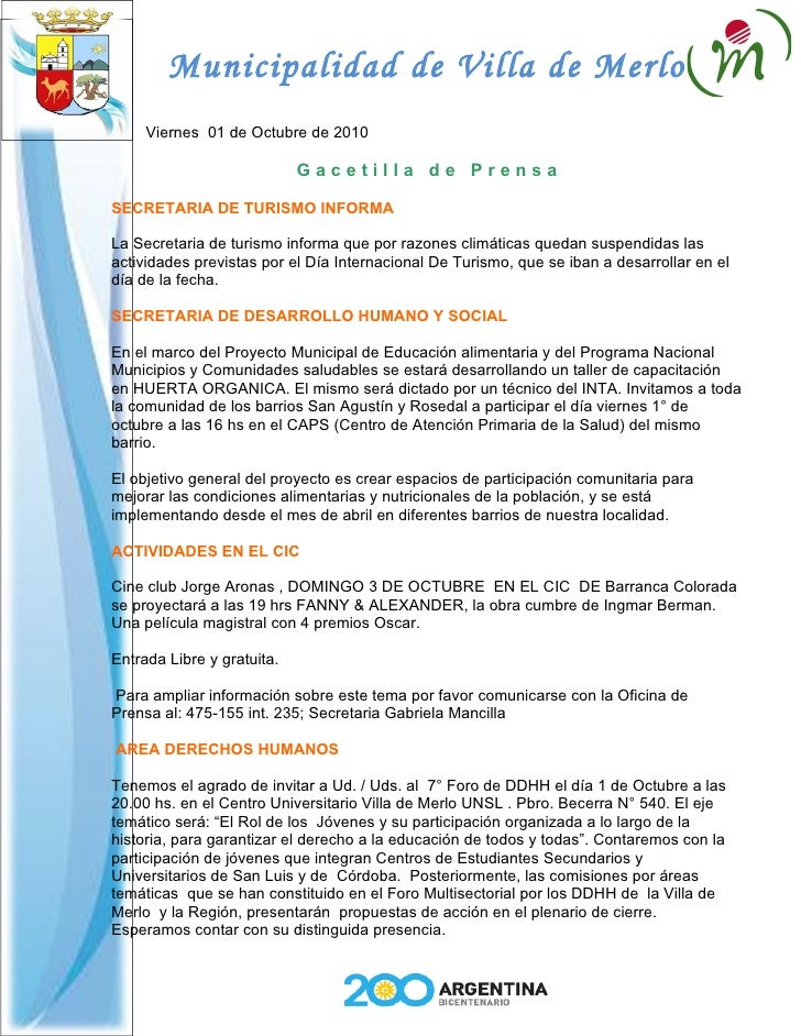 Municipalidad de Villa de Merlo      Viernes 01 de Octubre de 2010                              Gacetilla de Prensa  SECRE...
