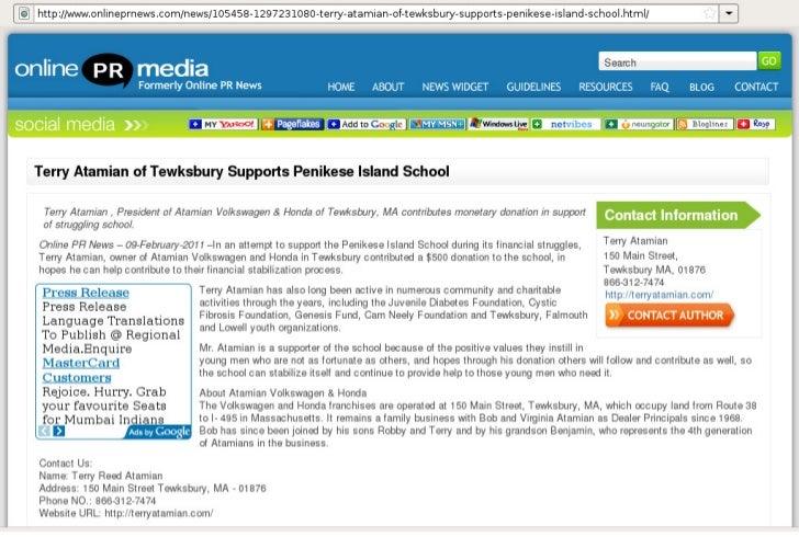 Terry Atamian of Tewksbury Supports Penikese Island School - Online PR News