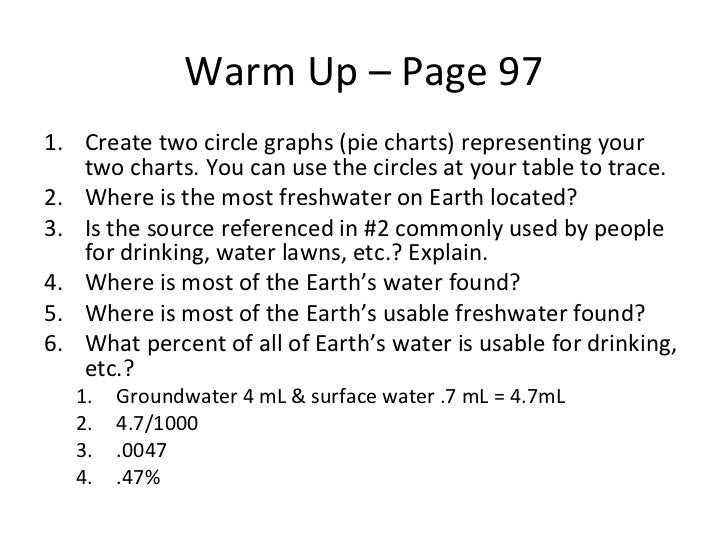 Warm Up – Page 97 <ul><li>Create two circle graphs (pie charts) representing your two charts. You can use the circles at y...