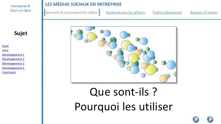 Formation B     LES MÉDIAS SOCIAUX EN ENTREPRISE     Cours en ligne                      Que sont-ils et pourquoi les util...