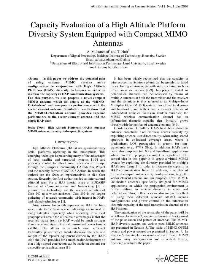 ACEEE International Journal on Communication, Vol 1, No. 1, Jan 2010Capacity Evaluation of a High Altitude PlatformDiversi...