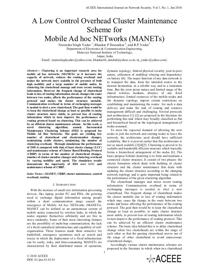 ACEEE International Journal on Network Security, Vol 1, No. 1, Jan 2010    A Low Control Overhead Cluster Maintenance     ...