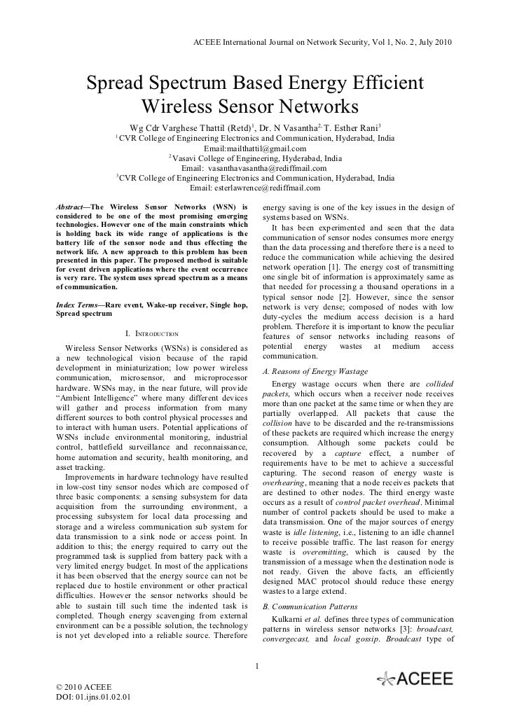 ACEEE International Journal on Network Security, Vol 1, No. 2, July 2010        Spread Spectrum Based Energy Efficient    ...