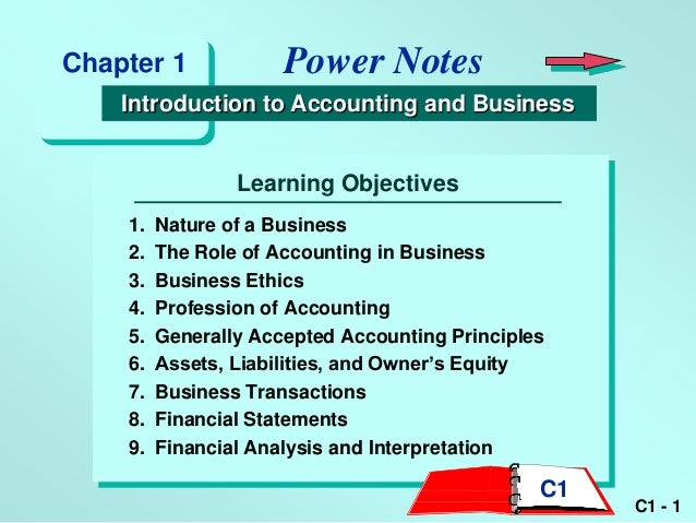 Chapter 1             Power Notes    Introduction to Accounting and Business                 Learning Objectives    1.   N...