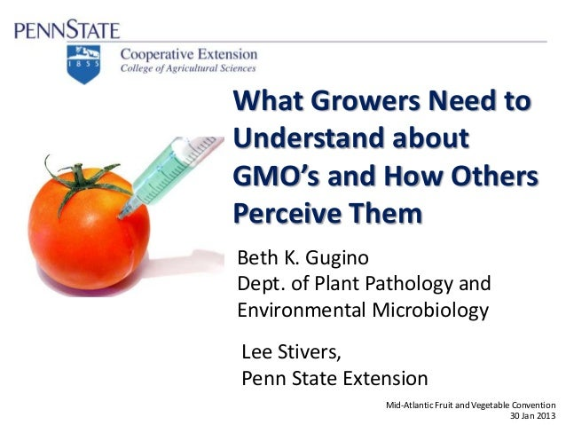 Beth K. Gugino Dept. of Plant Pathology and Environmental Microbiology What Growers Need to Understand about GMO's and How...