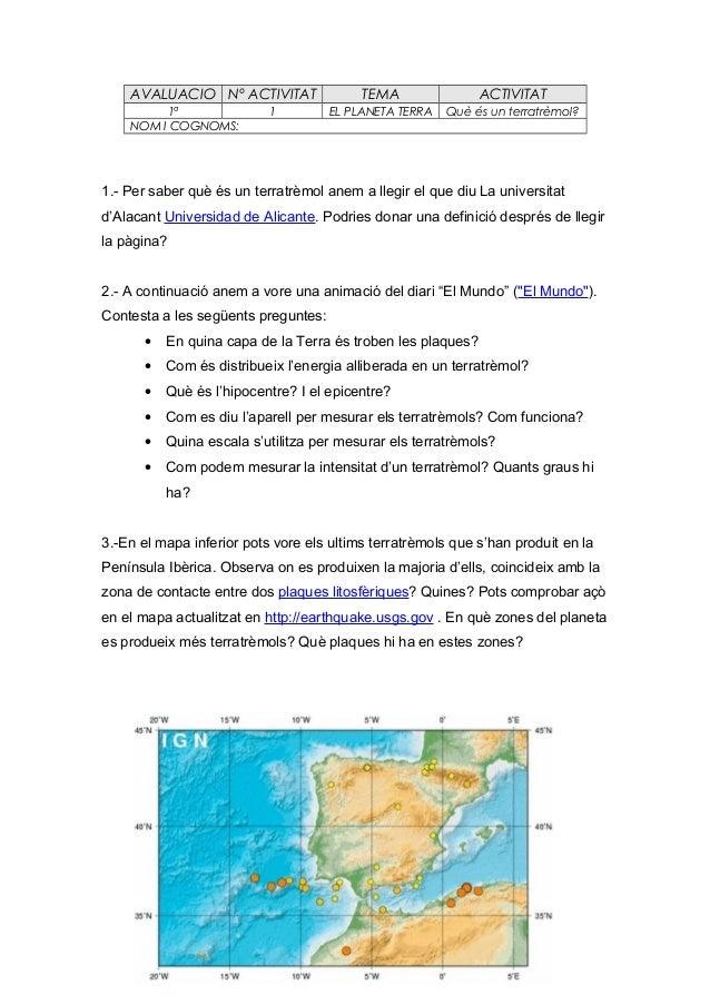 AVALUACIO Nº ACTIVITAT 1ª NOM I COGNOMS:  1  TEMA  ACTIVITAT  EL PLANETA TERRA  Què és un terratrèmol?  1.- Per saber què ...