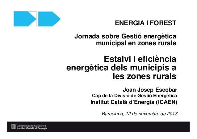 ENERGIA I FOREST Jornada sobre Gestió energètica municipal en zones rurals Fòrum empresarial  Estalvi irenovables eficiènc...