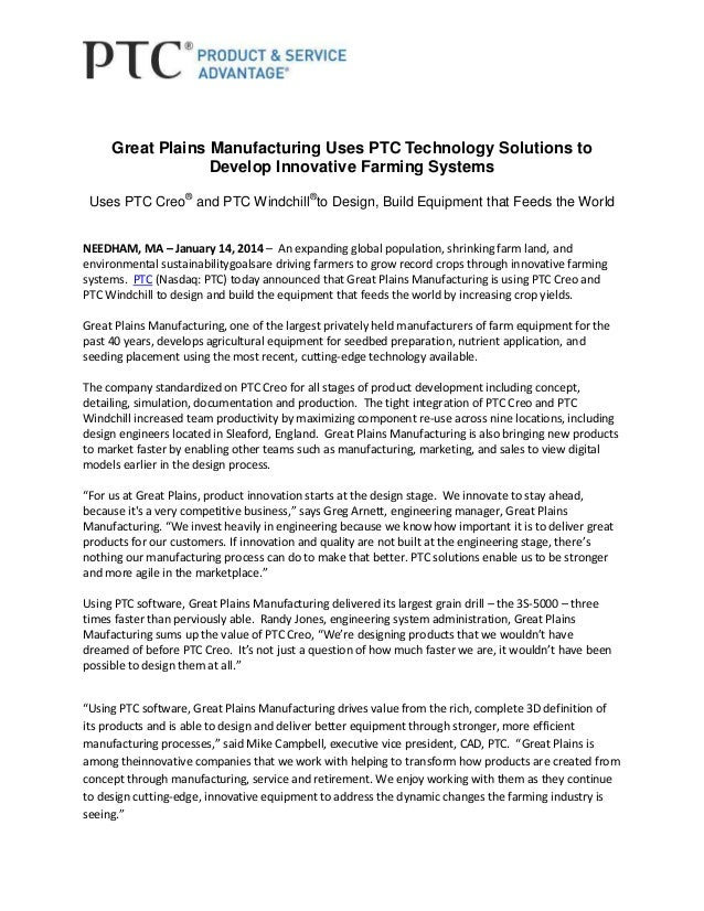 Great Plains Manufacturing Uses PTC Technology Solutions to Develop Innovative Farming Systems Uses PTC Creo® and PTC Wind...