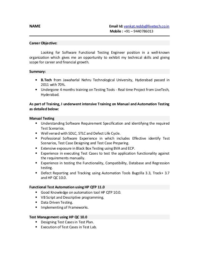 01 testing fresher resume - Software Tester Resume