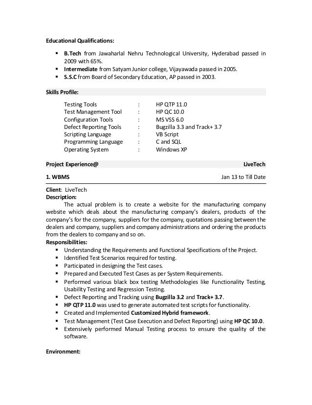 qa manual tester sample resume - Sample Qa Resume