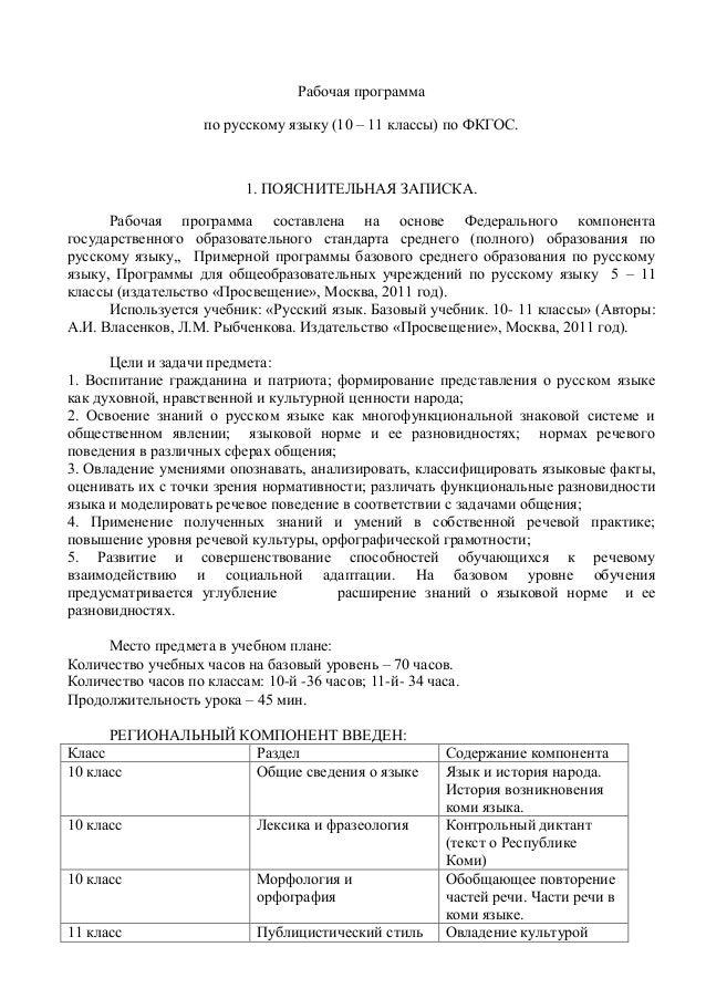 русский язык классы фкгос Рабочая программа по русскому языку 10 11 классы по ФКГОС