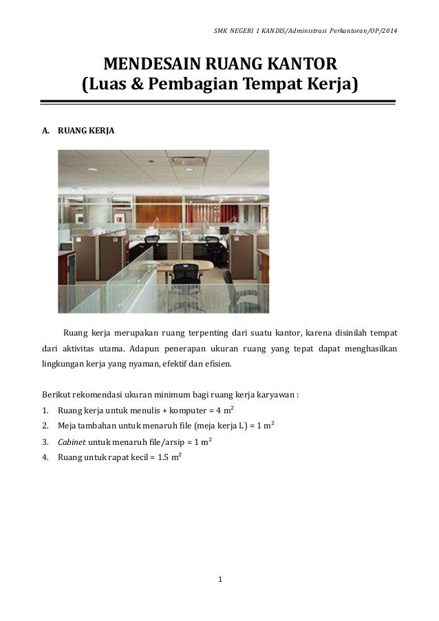 01 Mendesain Ruang Kantor Luas Dan Pembagian Tempat Kerja