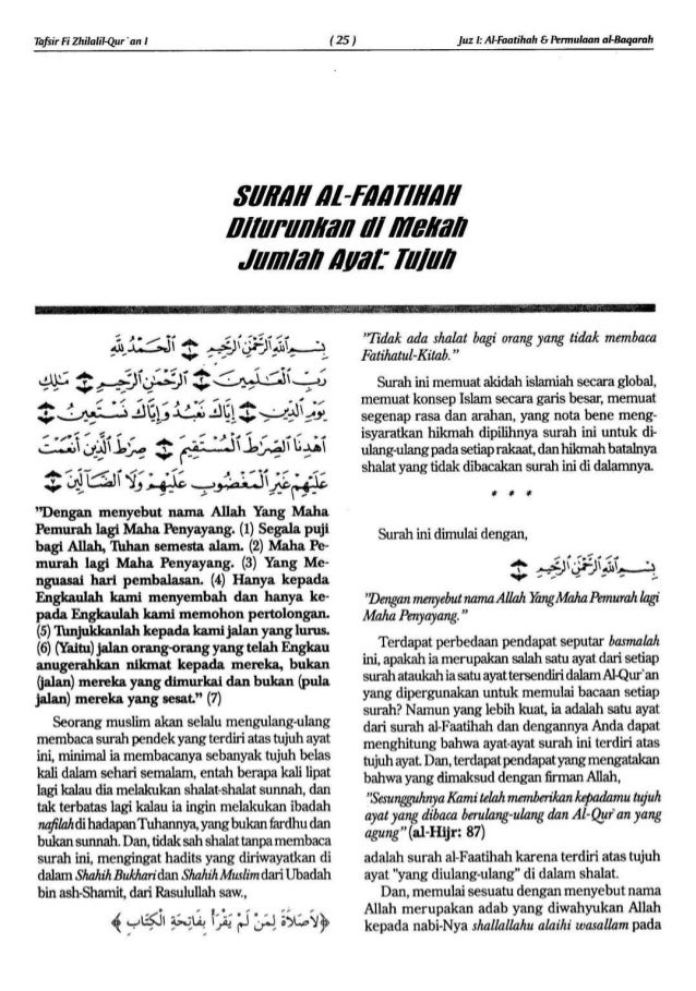 Tafsir Fizhilalil Quran Surat Alfatihah Indonesia