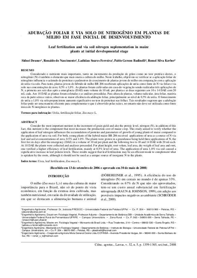 Ciênc. agrotec., Lavras, v. 32, n. 5, p. 1359-1365, set./out., 2008 Adubação foliar e via solo de nitrogênio... 1359ADUBAÇ...
