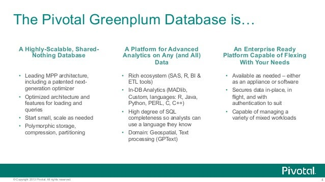 4© Copyright 2013 Pivotal. All rights reserved. The Pivotal Greenplum Database is… A Highly-Scalable, Shared- Nothing Data...