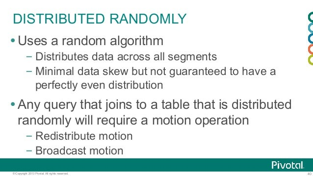 40© Copyright 2013 Pivotal. All rights reserved. DISTRIBUTED RANDOMLY ŸUses a random algorithm –Distributes data across ...