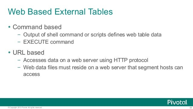 56© Copyright 2013 Pivotal. All rights reserved. Web Based External Tables Ÿ Command based – Output of shell command or ...