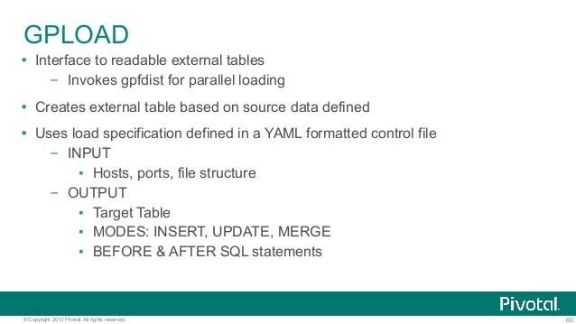 60© Copyright 2013 Pivotal. All rights reserved. GPLOAD Ÿ Interface to readable external tables – Invokes gpfdist for pa...