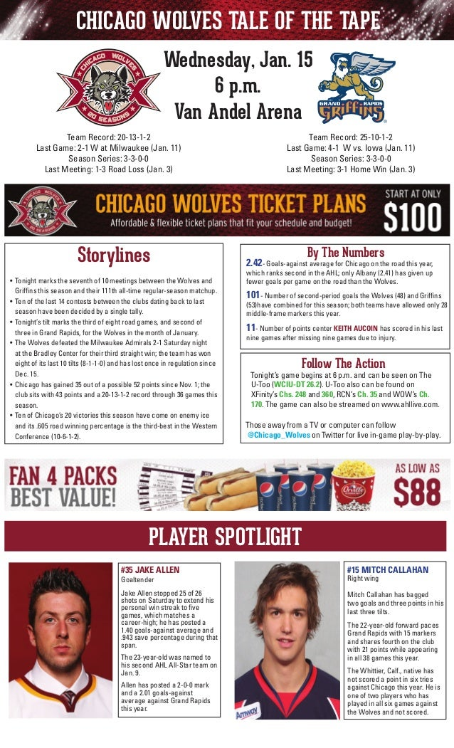 CHICAGO WOLVES TALE OF THE TAPE Wednesday, Jan. 15 6 p.m. Van Andel Arena Team Record: 25-10-1-2 Last Game: 4-1 W vs. Iowa...