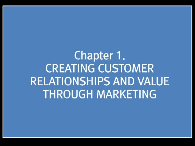 Chapter 1. CREATING CUSTOMER RELATIONSHIPS AND VALUE THROUGH MARKETING