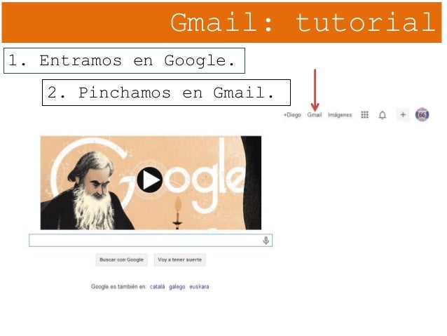 Gmail: tutorial 1. Entramos en Google. 2. Pinchamos en Gmail.