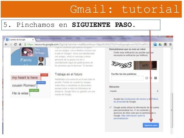 Gmail: tutorial 5. Pinchamos en SIGUIENTE PASO.
