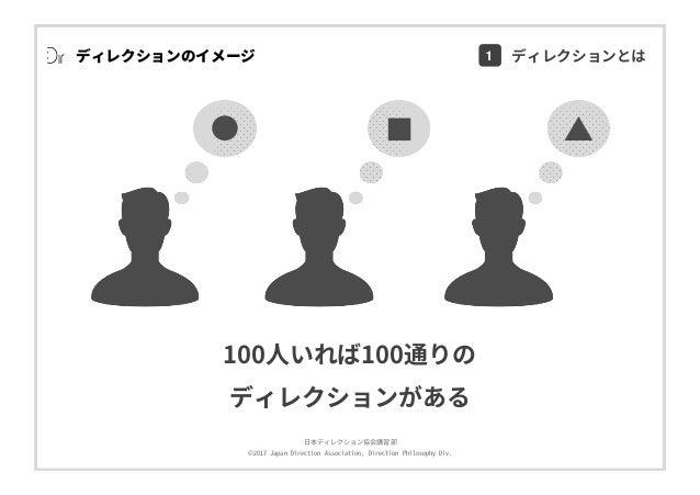 ⽇本ディレクション協会講習部 ©2017 Japan Direction Association, Direction Philosophy Div. ディレクションのイメージ 100⼈いれば100通りの ディレクションがある 1 ディレクショ...