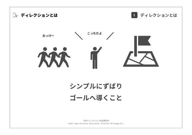 ⽇本ディレクション協会講習部 ©2017 Japan Direction Association, Direction Philosophy Div. ディレクションとは Direction シンプルにずばり ゴールへ導くこと こっちだよ おっ...