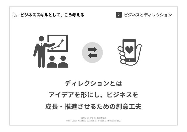 ⽇本ディレクション協会講習部 ©2017 Japan Direction Association, Direction Philosophy Div. ビジネススキルとして、こう考える ディレクションとは アイデアを形にし、ビジネスを 成⻑・推...