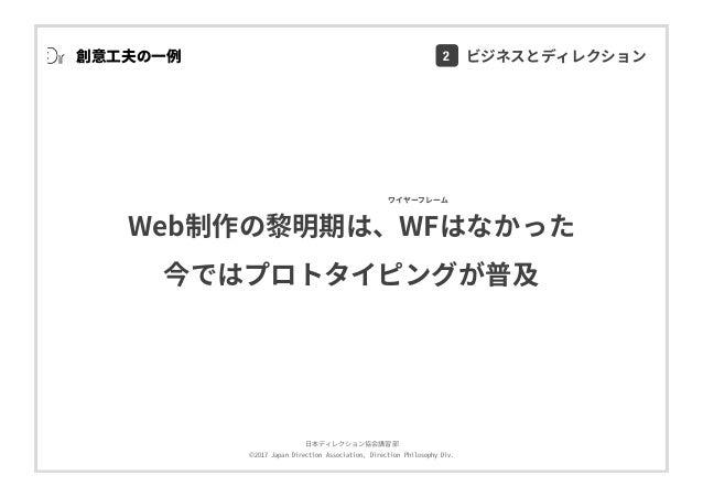 ⽇本ディレクション協会講習部 ©2017 Japan Direction Association, Direction Philosophy Div. 創意⼯夫の⼀例 Web制作の黎明期は、WFはなかった 今ではプロトタイピングが普及 ワイヤー...
