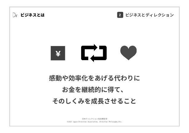 ⽇本ディレクション協会講習部 ©2017 Japan Direction Association, Direction Philosophy Div. ビジネスとは 感動や効率化をあげる代わりに お⾦を継続的に得て、 そのしくみを成⻑させること...