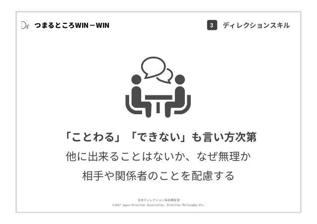 ⽇本ディレクション協会講習部 ©2017 Japan Direction Association, Direction Philosophy Div. つまるところWIN−WIN 「ことわる」「できない」も⾔い⽅次第 他に出来ることはないか、な...