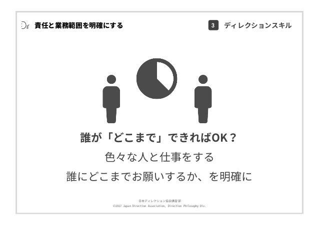 ⽇本ディレクション協会講習部 ©2017 Japan Direction Association, Direction Philosophy Div. 責任と業務範囲を明確にする 誰が「どこまで」できればOK? ⾊々な⼈と仕事をする 誰にどこま...