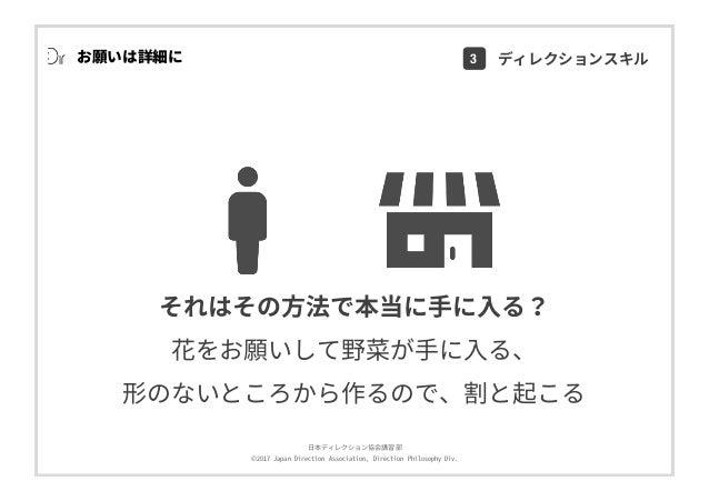 ⽇本ディレクション協会講習部 ©2017 Japan Direction Association, Direction Philosophy Div. お願いは詳細に それはその⽅法で本当に⼿に⼊る? 花をお願いして野菜が⼿に⼊る、 形のないと...