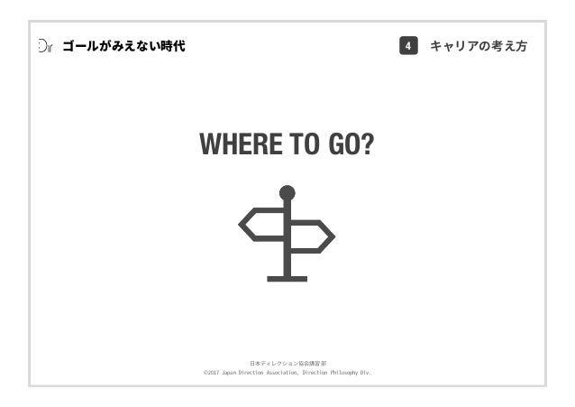 ⽇本ディレクション協会講習部 ©2017 Japan Direction Association, Direction Philosophy Div. WHERE TO GO? ゴールがみえない時代 4 キャリアの考え⽅