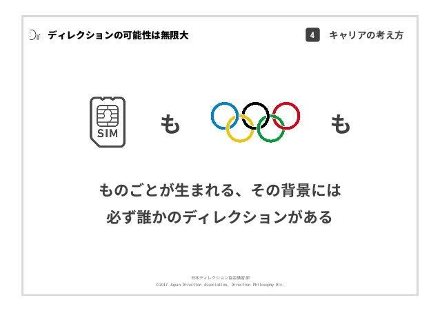 ⽇本ディレクション協会講習部 ©2017 Japan Direction Association, Direction Philosophy Div. も も ものごとが⽣まれる、その背景には 必ず誰かのディレクションがある ディレクションの可...