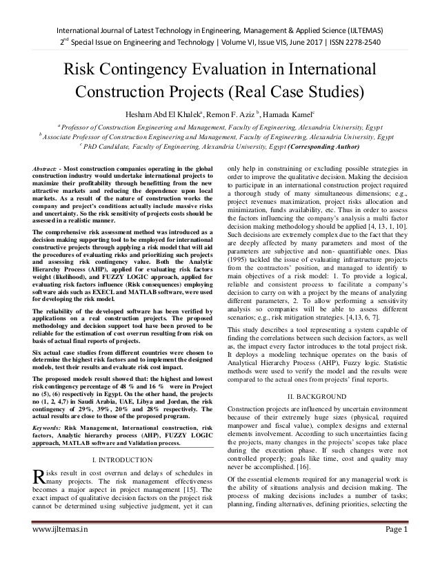 Risk Contingency Evaluation in International Construction
