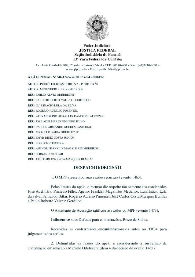 Poder Judici�rio JUSTI�A FEDERAL Se��o Judici�ria do Paran� 13� Vara Federal de Curitiba Av. Anita Garibaldi, 888, 2� anda...