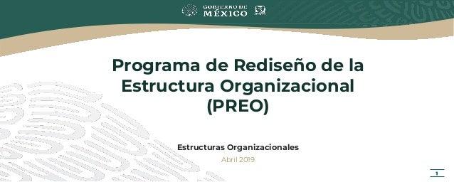 Programa de Rediseño de la Estructura Organizacional (PREO) Estructuras Organizacionales Abril 2019 1