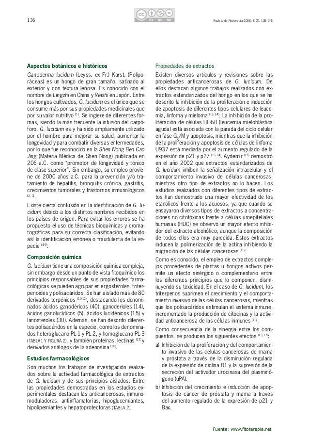137RevistadeFitoterapia2008;8(2):135-146 Polisacáridos HeteroglucanoPL-1 HeteroglucanoPL-2 HomoglucanoPL-3 Ganode...