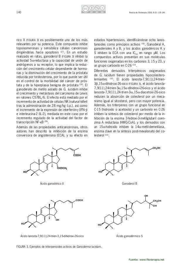 141RevistadeFitoterapia2008;8(2):135-146 ElácidoganodérmicoS(FIGURA3)produceagrega- ciónplaquetariaadosis...
